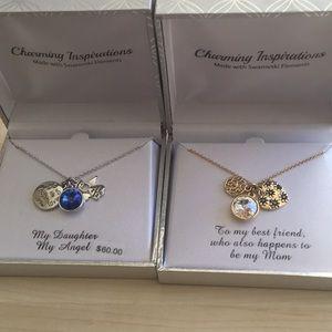 NWT Swarovski Mother Daughter Necklace Set